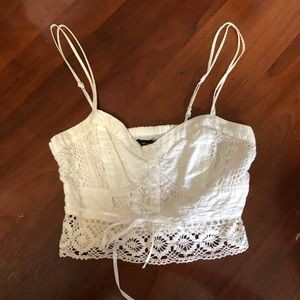 American Eagle cropped eyelet lace top